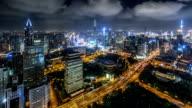 WS HA Aerial View of Shanghai Skyline at Night / Shanghai, China