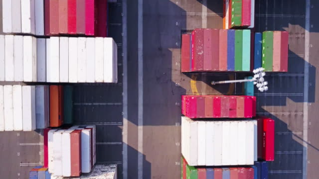 Aerial View of Shipping Containers in Port Terminal