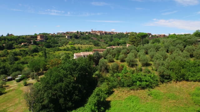 Aerial view of Siena area in Italy