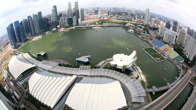 HD: Aerial view of Singapore Cityscape