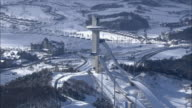 Aerial View of ski resort at Daegwallyeong mountain pass in winter