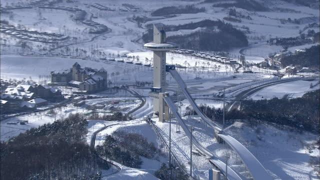 Aerial View of ski resort at Daegwallyeong mountain pass in winter
