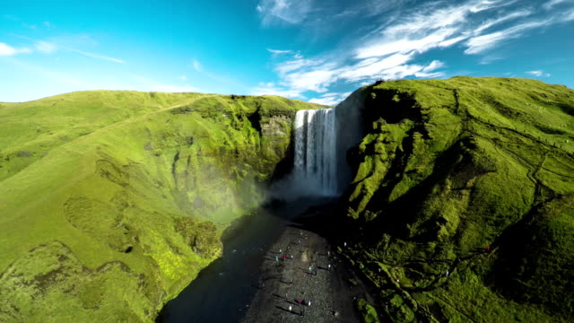 Aerial view of Skogafoss in Iceland