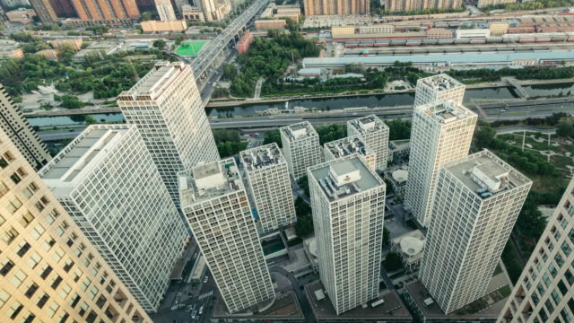 T/L TD Aerial view of Skyscrapers / Beijing, China