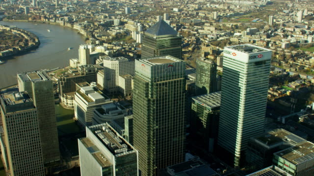 Aerial view of skyscrapers in Canary Wharf London