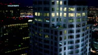 Aerial view of skyscrapers in downtown Los Angeles at night