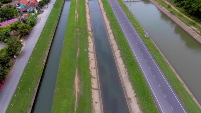 Luftaufnahme des kleinen Wassertor Bewässerungssystem und Kanäle