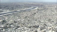 Aerial view of snow covered Tokyo.