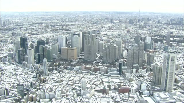 Aerial view of snow covered Tokyo with Tokyo Metropolitan Government building.