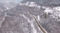4K Aerial view of snow mountain road