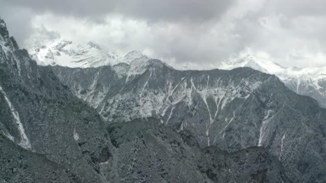 Aerial view of snowy Himalayan Ridges in Bhutan