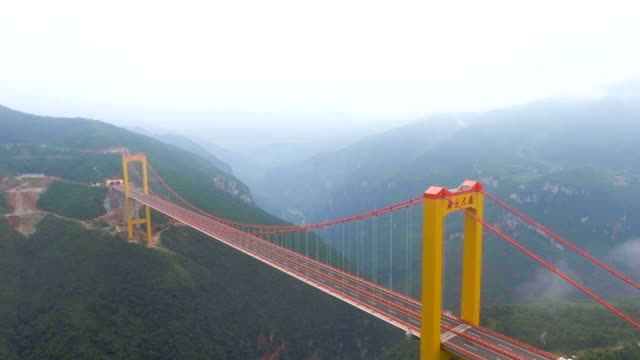 Aerial view of Sspension Bridge Connect Between the Mountain, Ghuizhou, China