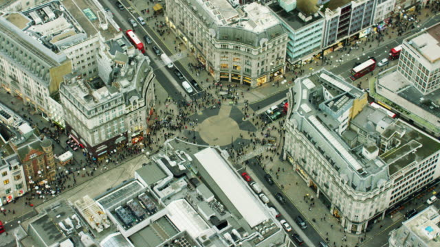 Aerial view of streets around Oxford Circus London