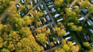 Aerial view of suburban homes wide