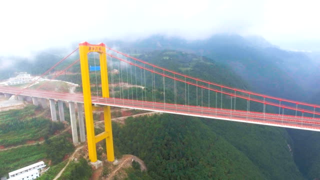 Aerial view of Suspension Bridge Connect Between the Mountain, Ghuizhou, China