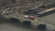 Aerial view of the aftermath of the Westminster terror attack including the crashed car