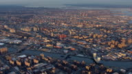 Aerial view of the Bronx from over Harlem in New York City.