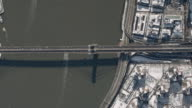 Aerial View Of The Brooklyn Bridge and FDR Drive On A Sunny Winter Day
