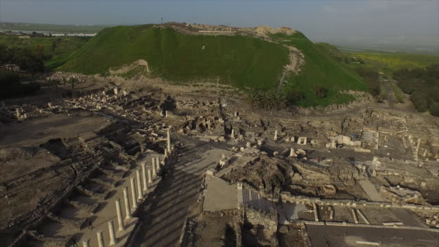 Aerial view of the Cardo in the Roman city of Beit She'an