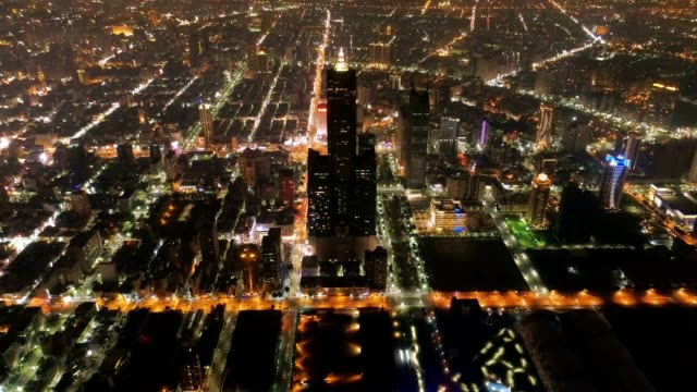Aerial view of the city in Kaohsiung at night, Taiwan