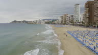 Aerial view of the city of Benidorm and Levante Beach