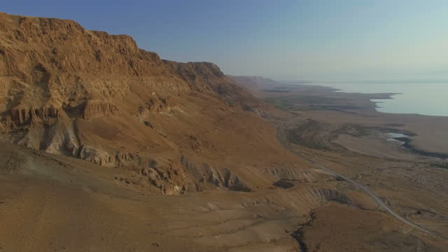 Aerial view of The Dead sea cliffs on a sunny day