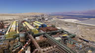 Aerial view of The Dead Sea Works with the dead sea in background