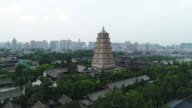 Aerial View of The Famous Giant Wild Goose Pagoda in China