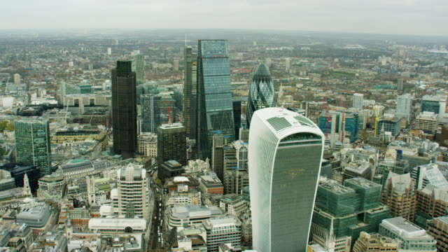 Aerial view of The Gherkin building London Cityscape