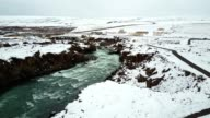 aerial view of the Godafoss waterfalls in iceland