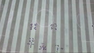 Aerial view of the graduation students showing different pattern in the soccer field