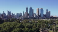 Aerial view of the Melbourne skyline and Botanical Gardens, Victoria