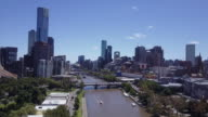 Aerial view of the Melbourne skyline and Yarra River, Victoria