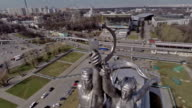 Aerial view of the monument Worker and Kolkhoz Woman on VDNH / Russia, Moscow