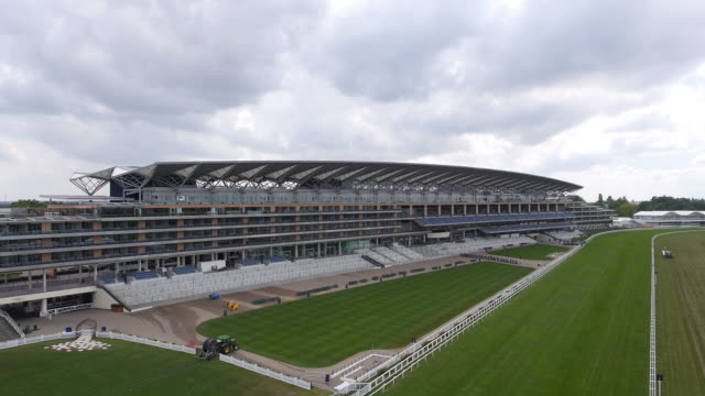 Aerial view of the new grandstand at Ascot Racecourse Captured by a licensed UAV operator with PFAW