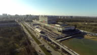Aerial view of the Ostankino Tower, monorail and TV center / Russia, Moscow