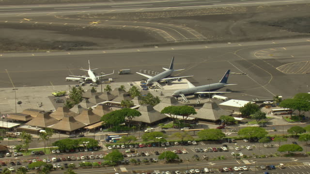 Aerial view of the outdoor terminal at Kona International Airport on Hawaii's Big Island.