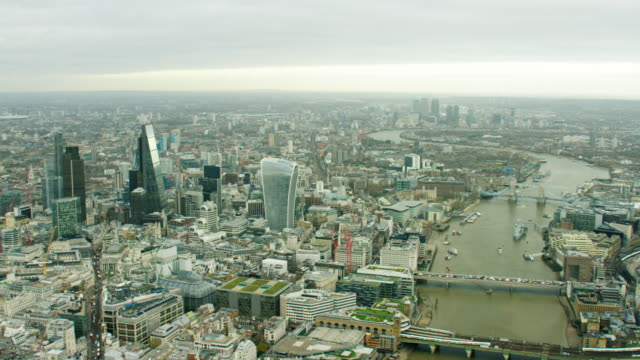 Aerial view of the River Thames in London