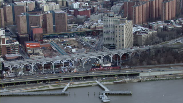 Aerial view of the riverfront Manhattanville neighborhood in New York City.