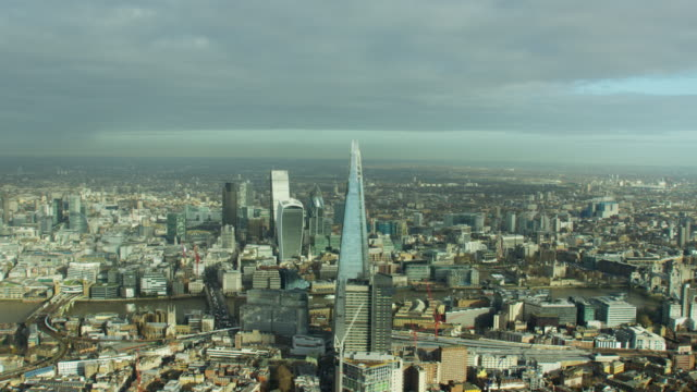 Aerial view of The Shard Tower and Thames
