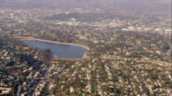 aerial view of the Silver Lake reservoir and residential area, Los Angeles, RED R3D 4K, 4K, 4KMSTR
