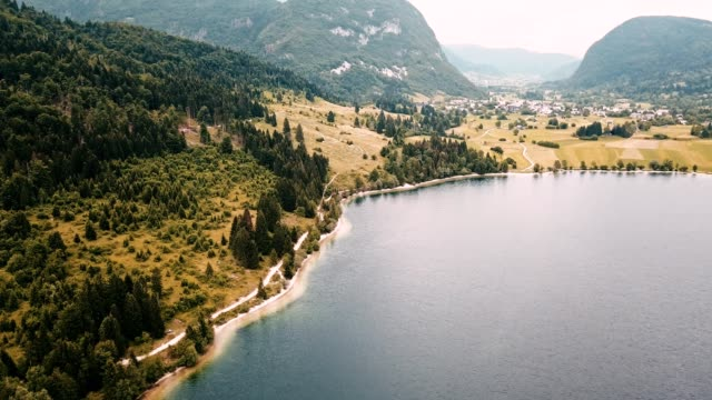 aerial view of the slovenian countryside close to the bohini lake