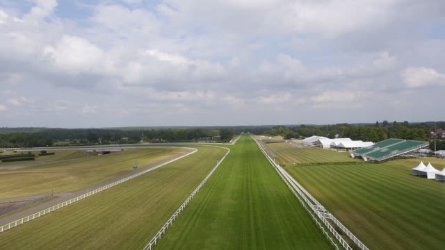 Aerial view of the straight mile at Ascot Racecourse Captured by a licensed UAV operator with PFAW