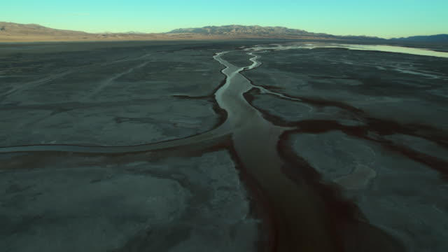 Aerial view of the vast and mostly dry expanses of Owens Lake, California.