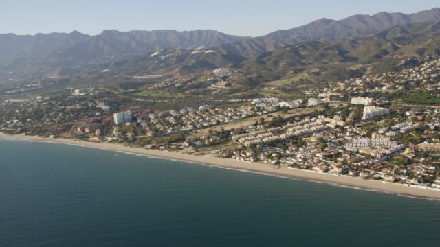 Aerial view of town along coastline, Marbella, Andalusia, Spain