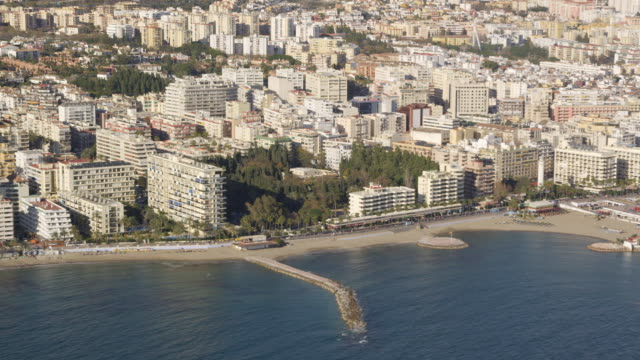 Aerial view of town and marina, Marbella, Andalusia, Spain