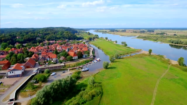 Aerial View of town Hitzacker and River Elbe in Lower Saxony, Germany
