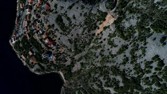 Aerial view of town. Mountain landscape