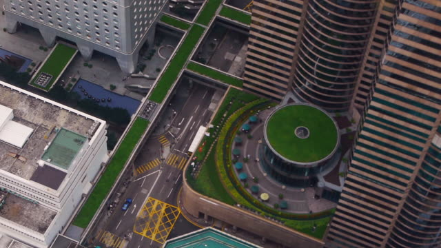Aerial view of Traffic in Hong Kong Island seen from High Rise Buildings