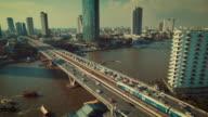 Aerial view of Traffic on Bridge,Bangkok Thailand